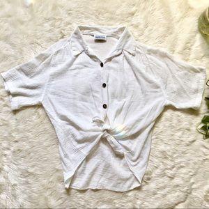 Ivory White Gauze Linen Tie-front Blouse